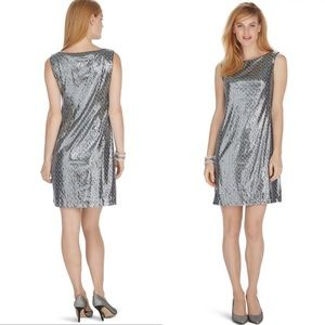 WHBM Sleeveless Sequin Shift Dress Size Small